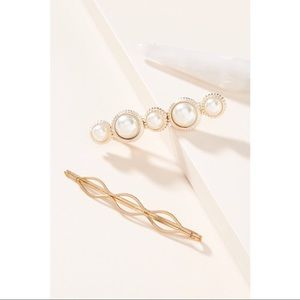 NWOT Anthropologie Pearl Resin Pin Set of 3